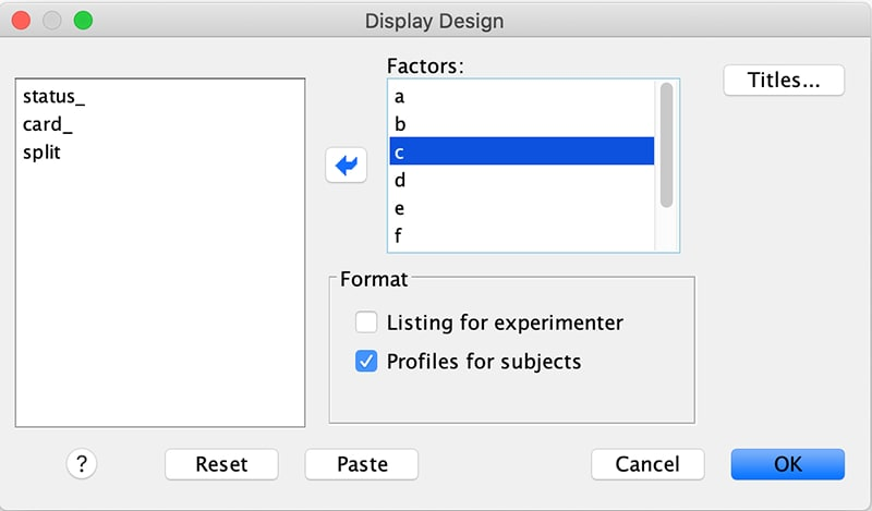 Screenshot of display design settings window