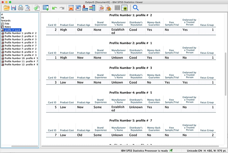 Screenshot of IBM SPSS Statistics Viewer profiles