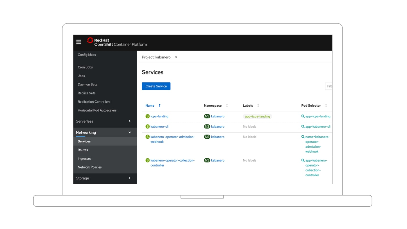 Red Hat OpenShift en ejecución dentro de IBM Cloud Pak for Applications