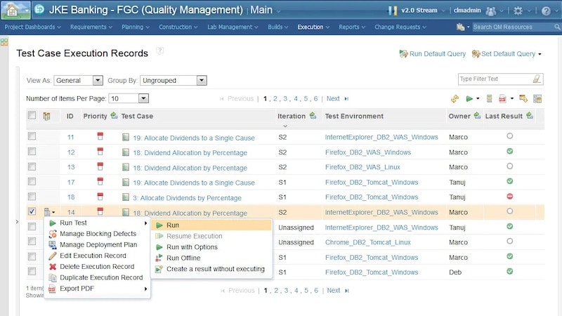 Test Management screen