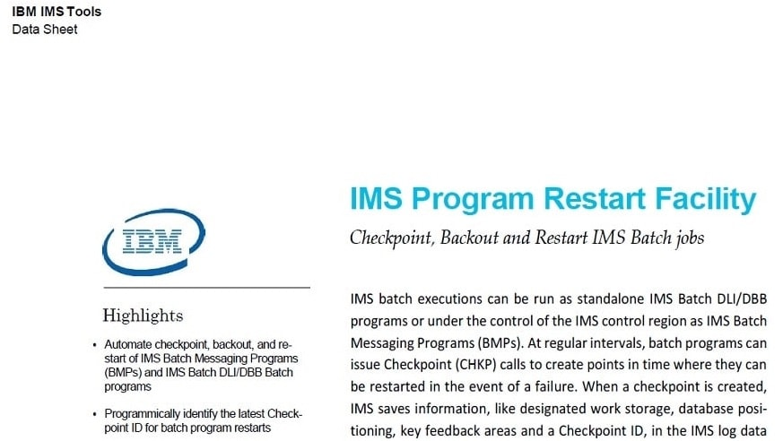 screenshot of IMS Program Restart Facility data sheet