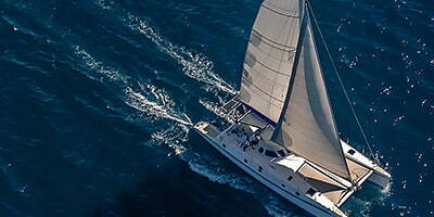 sailing catamaran on the sea