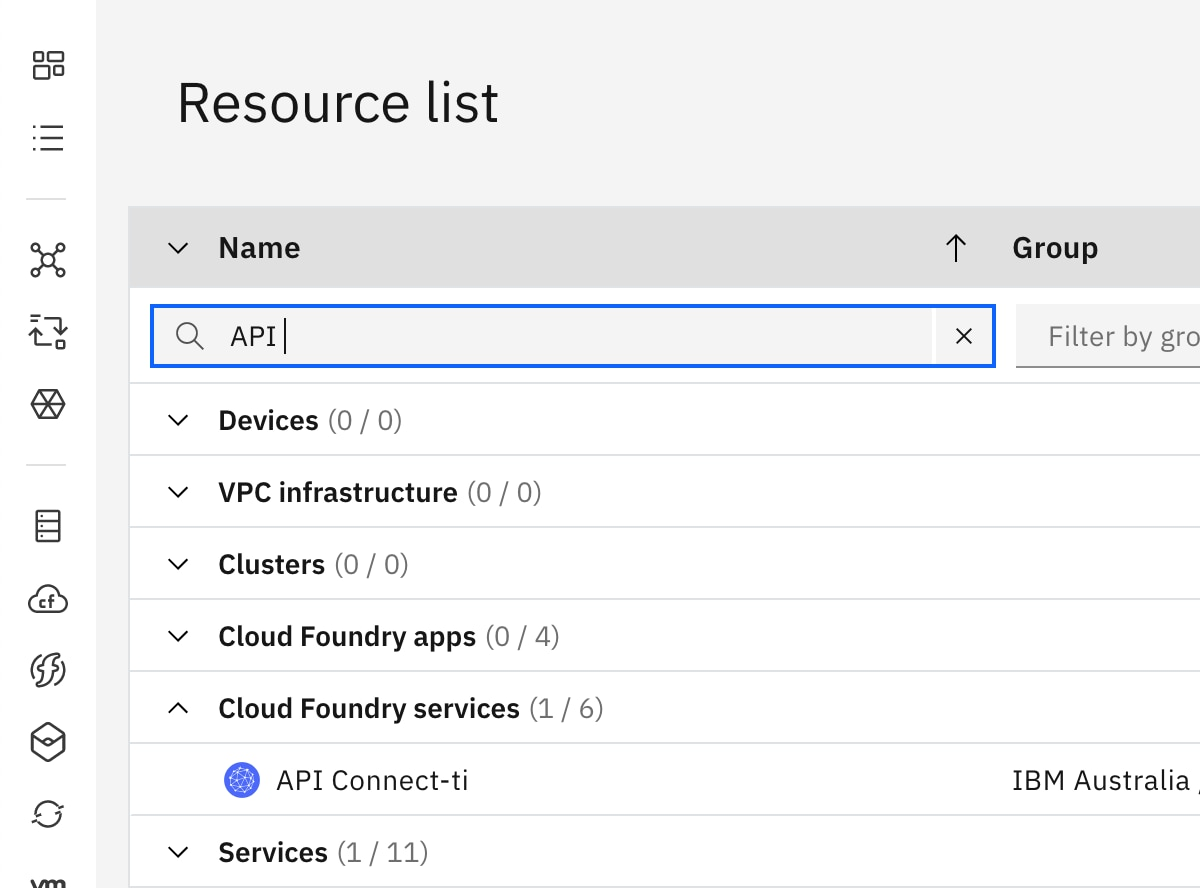 Open API Connect from the IBM Cloud Dashboard: