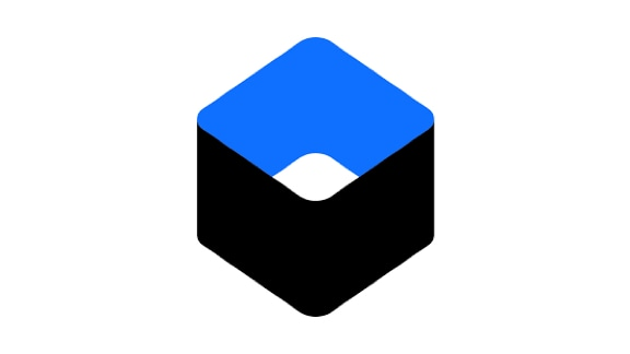 Oblique view of a black and blue cube
