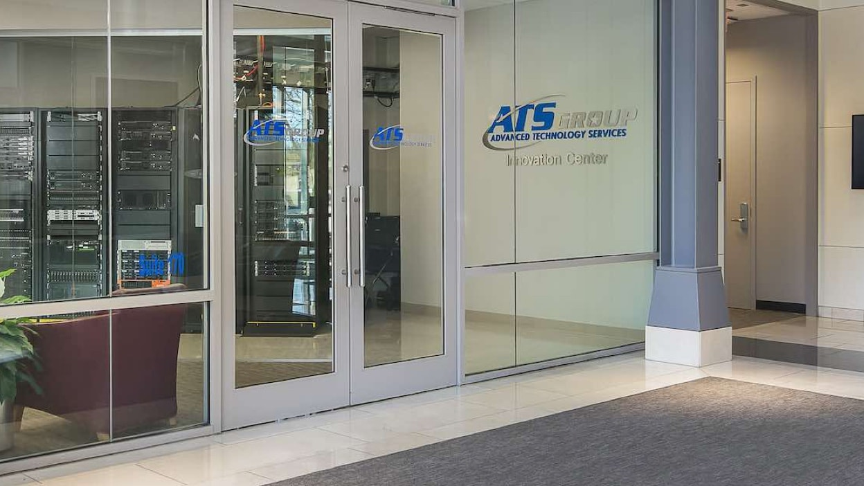 ATS Group Innovation Center building glass front doors