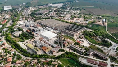aerial view of a factory plant