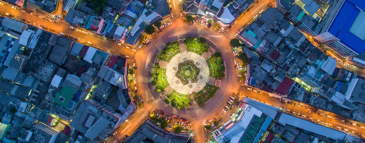 top view of illuminated roundabout at night