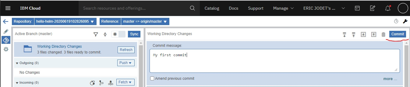 5. Add a comment and commit your changes by clicking the Commit button on the right:
