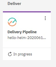 On the toolchain Overview page, click Delivery Pipeline to see your toolchain as it is being built and deployed:
