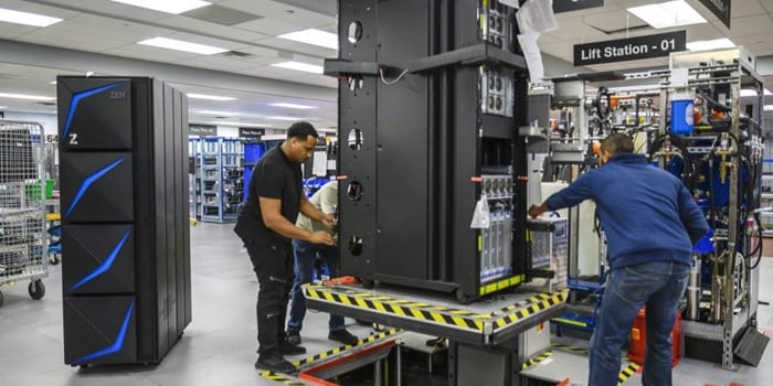 Workers with an IBM server