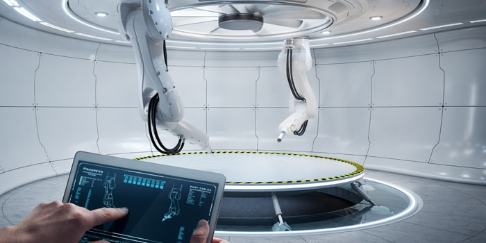 Controlling robot arms with a tablet