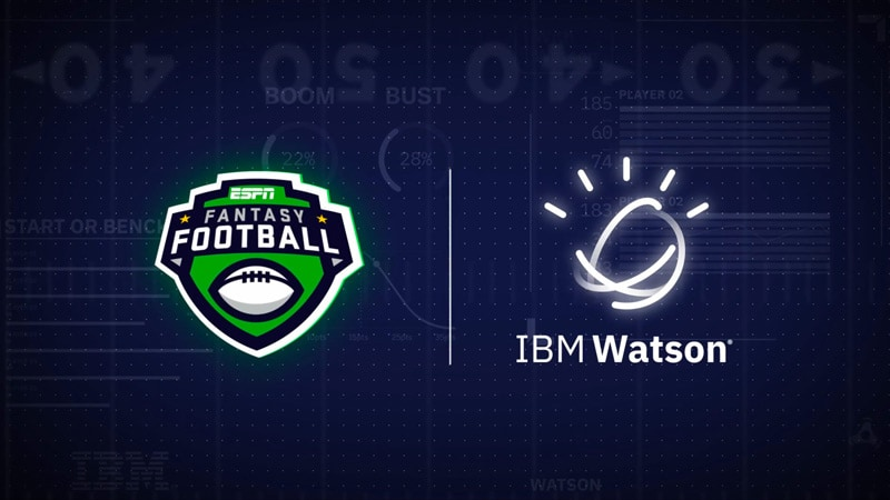 ESPN fantasy football app logo and IBM Watson logo