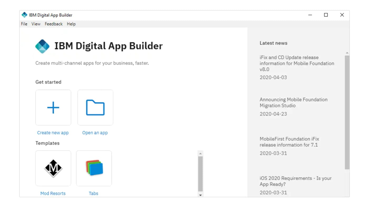 Screenshot showing IBM digital app builder dashboard