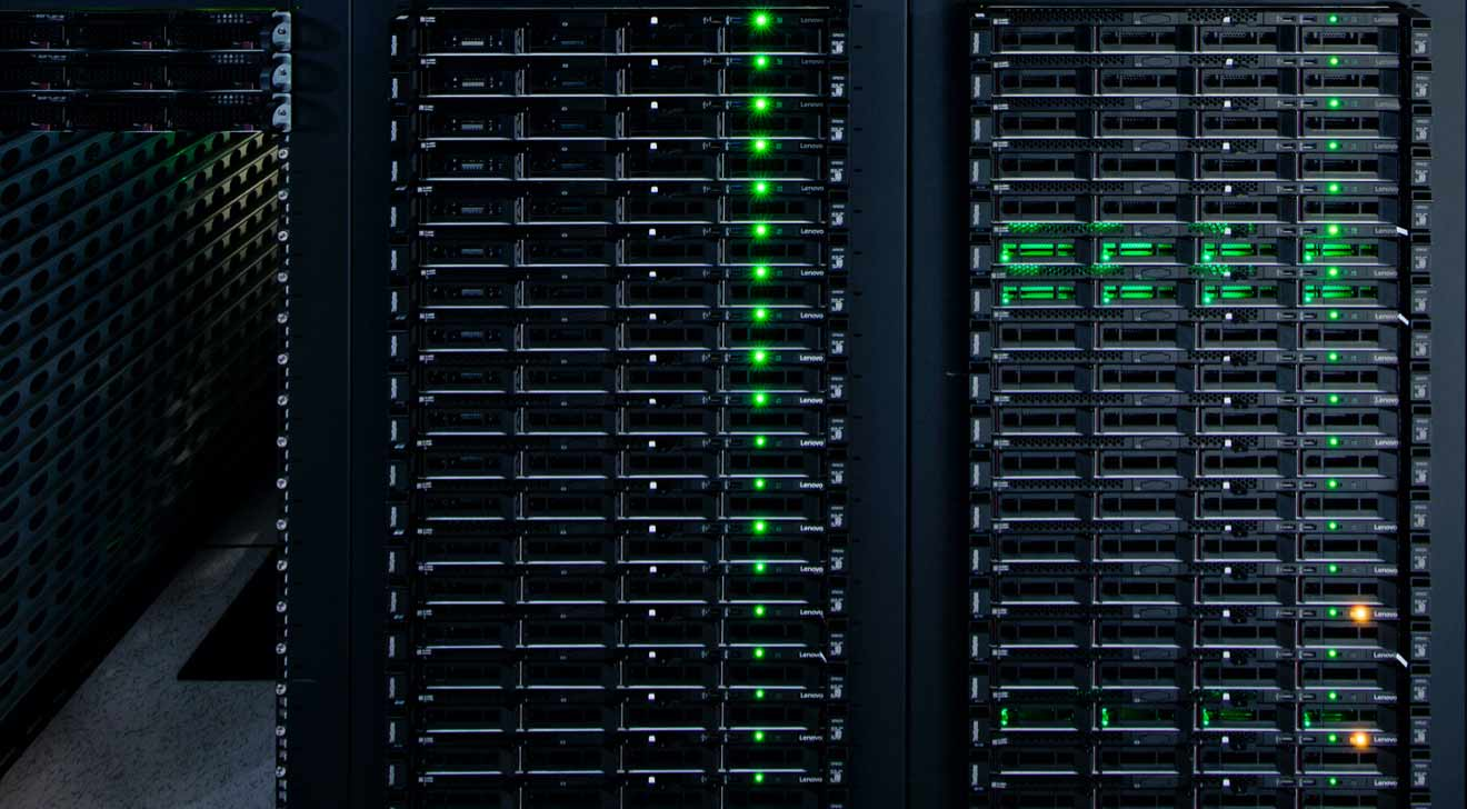Close-up of an operational rack of servers
