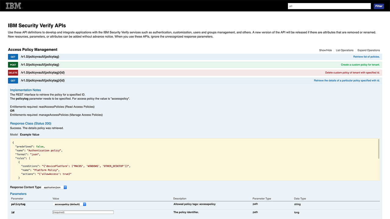 Screen shot of API documentation
