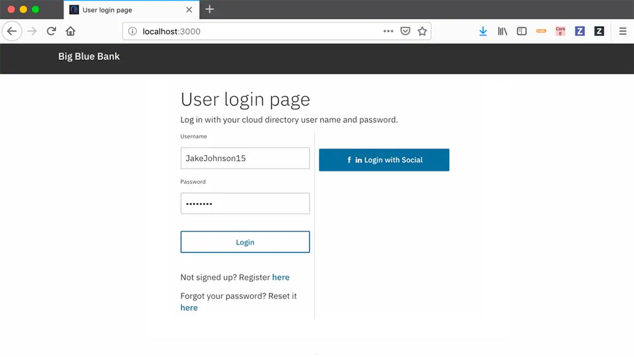 Screen shot of branded user login page