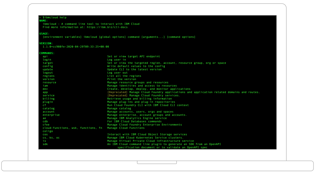 Screenshot of IBM Cloud Command Line Interface
