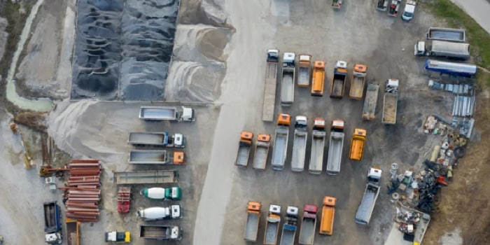 A view from above of a truck parking lot