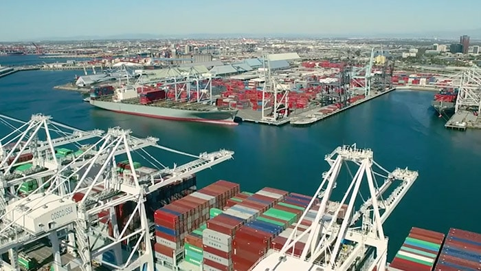 overhead view of a shipping port