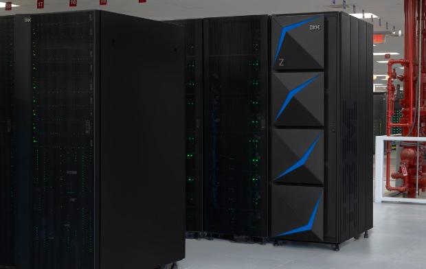 Scene with IBM z15 mainframes working in a data center