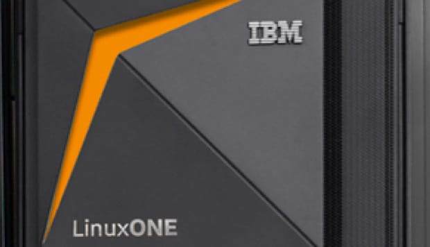 Zoomed in photo of an IBM LinuxONE III