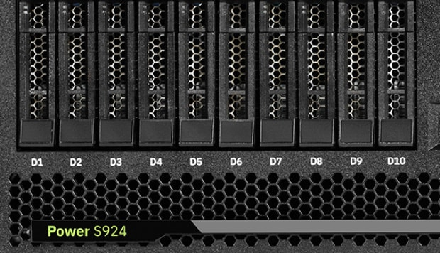 Zoomed in photo of an IBM Power Systems S924 server