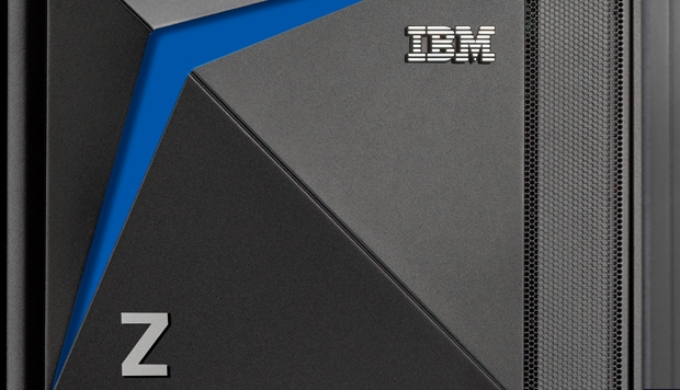 Zoomed in photo of an IBM z15 mainframe