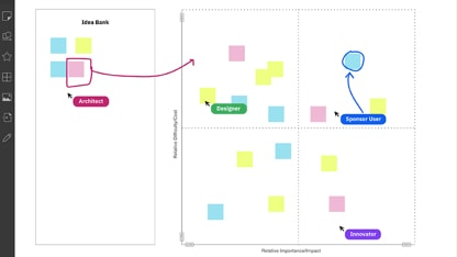 Virtual whiteboard with sticky notes