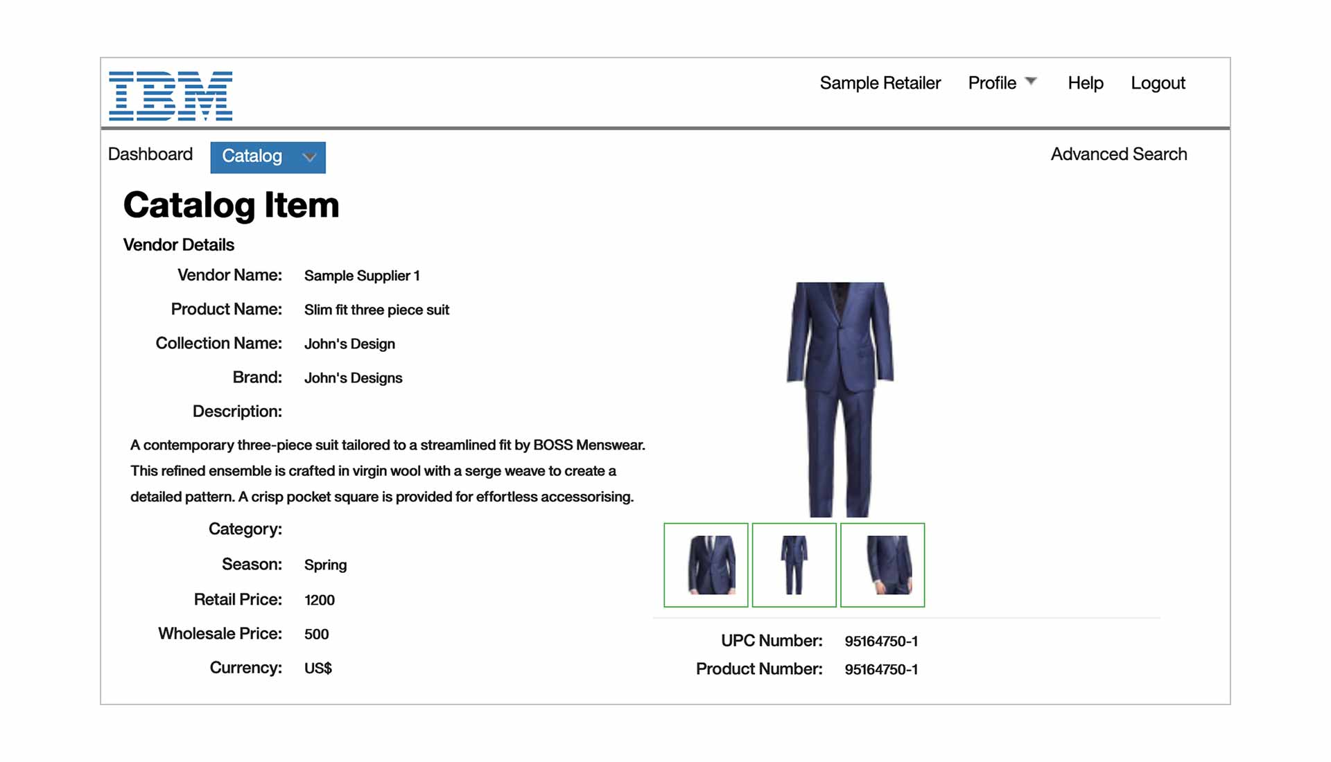 Screen capture showing a catalog item as it might be displayed in IBM Sterling Catalog Manager