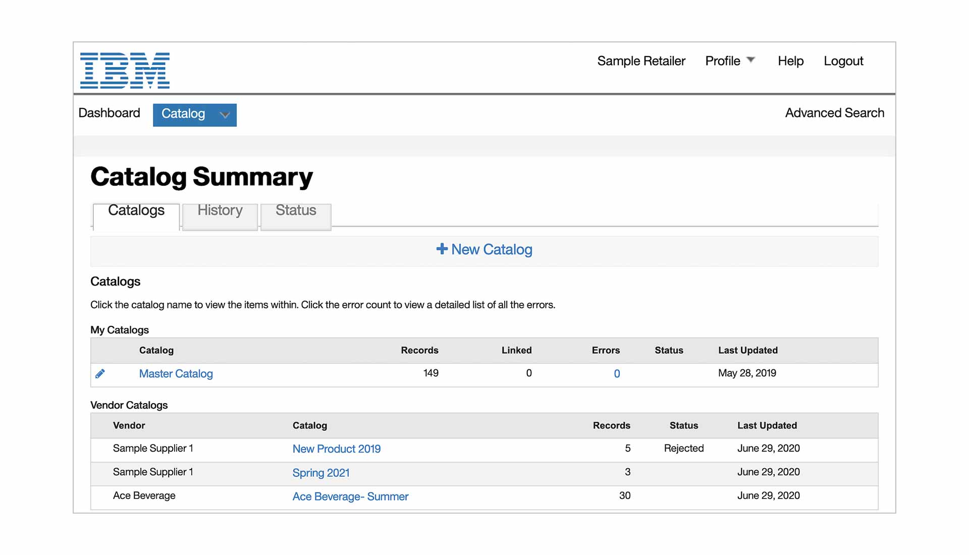 Screen capture showing a catalog summary page from IBM Sterling Catalog Manager