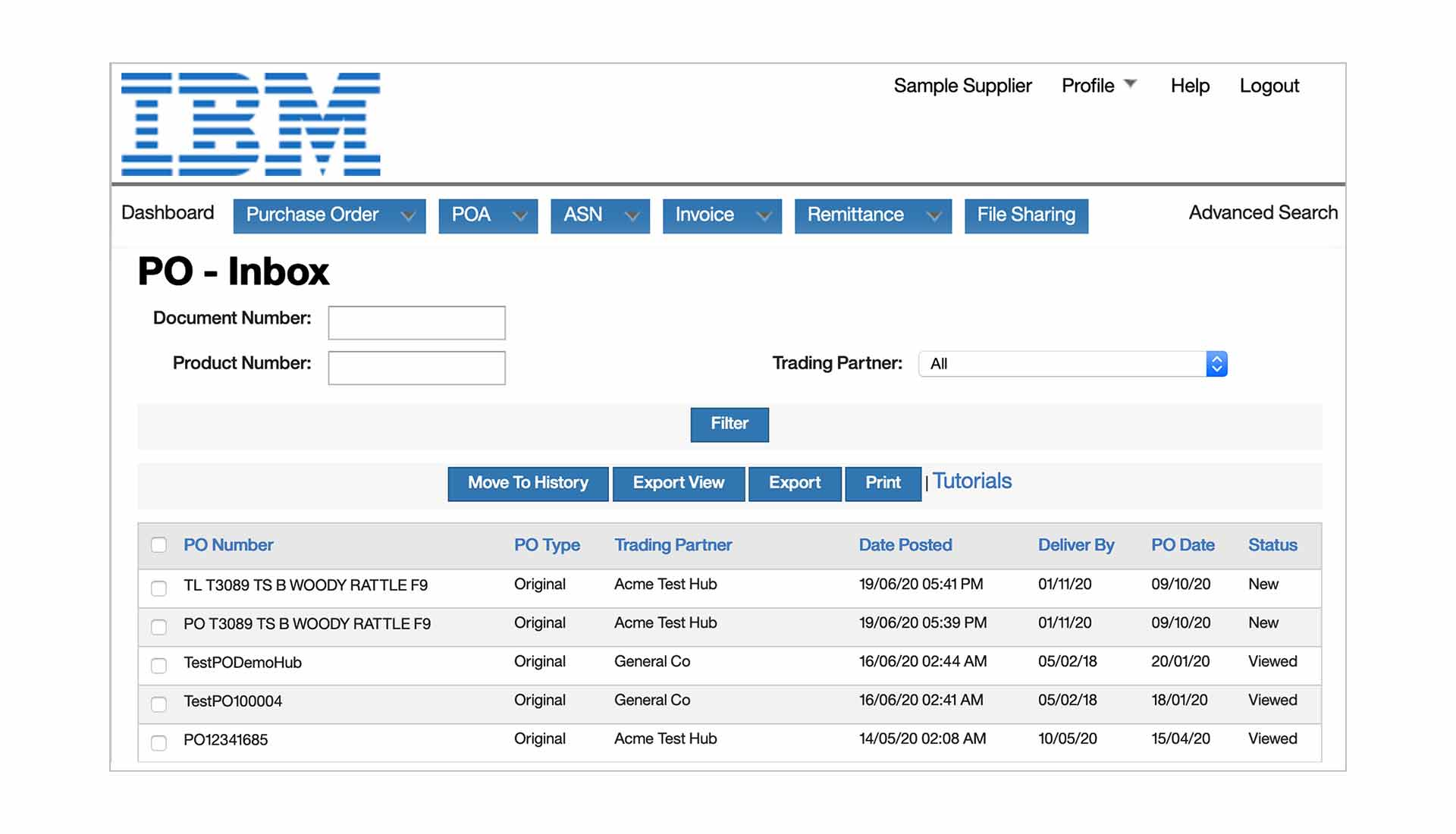 Screenshot of IBM Sterling Transaction Manager software showing purchase order inbox