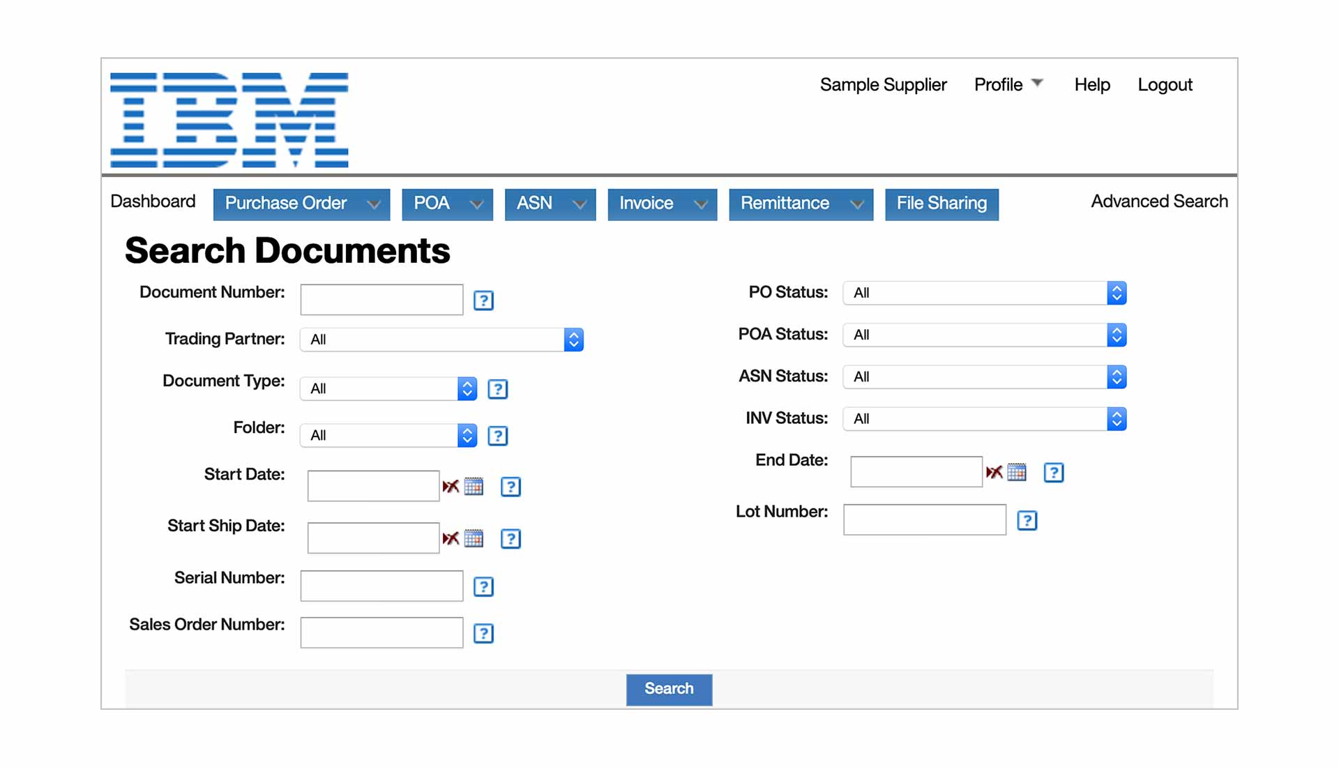 Screenshot of IBM Sterling Transaction Manager software showing advanced search capabilities