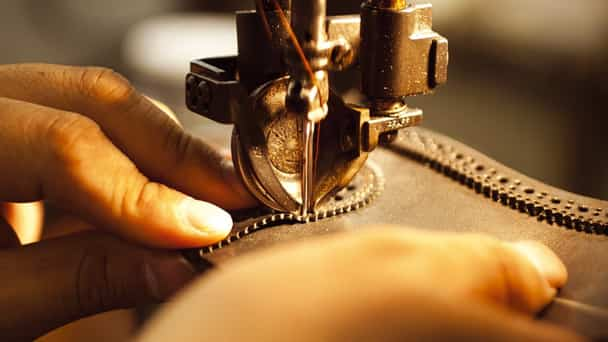 Close-up on sewing machine