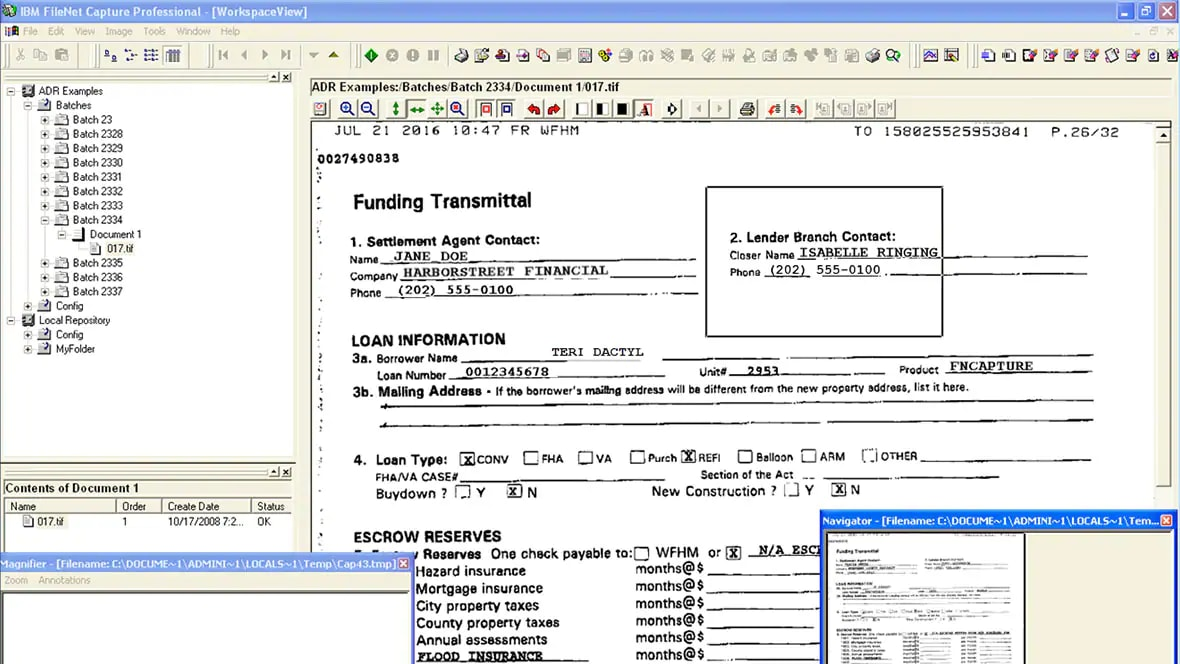 screenshot showing ibm filenet capture workspace