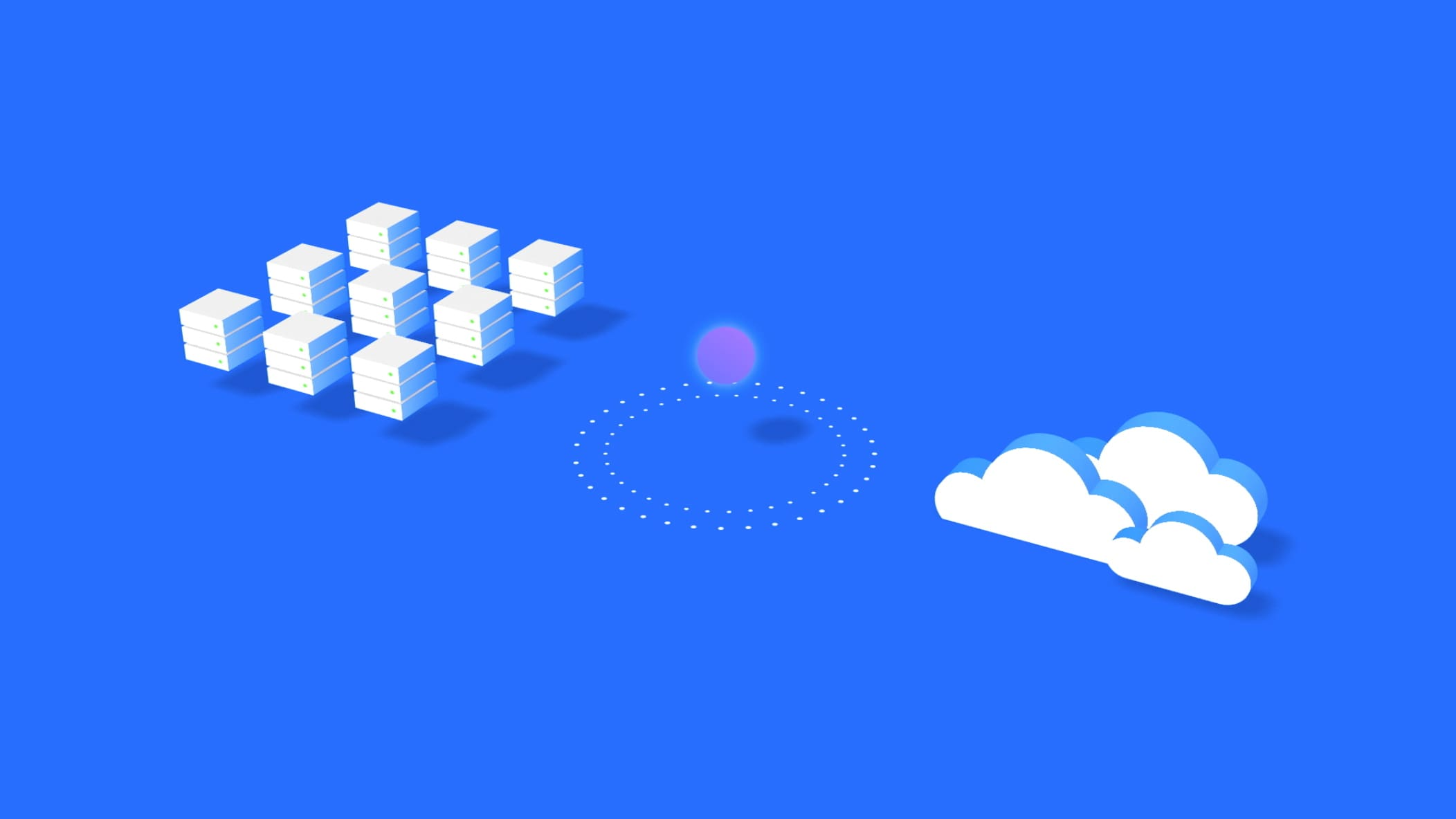 white blocks, circle and clouds on blue background