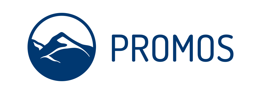PROMOS logo in blue next to an icon of a mountain landscape