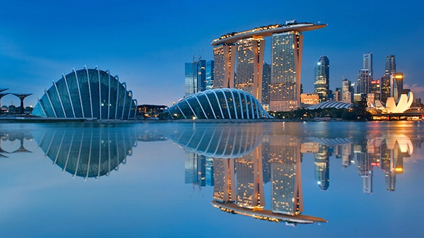 A waterfront view of Singapore at night
