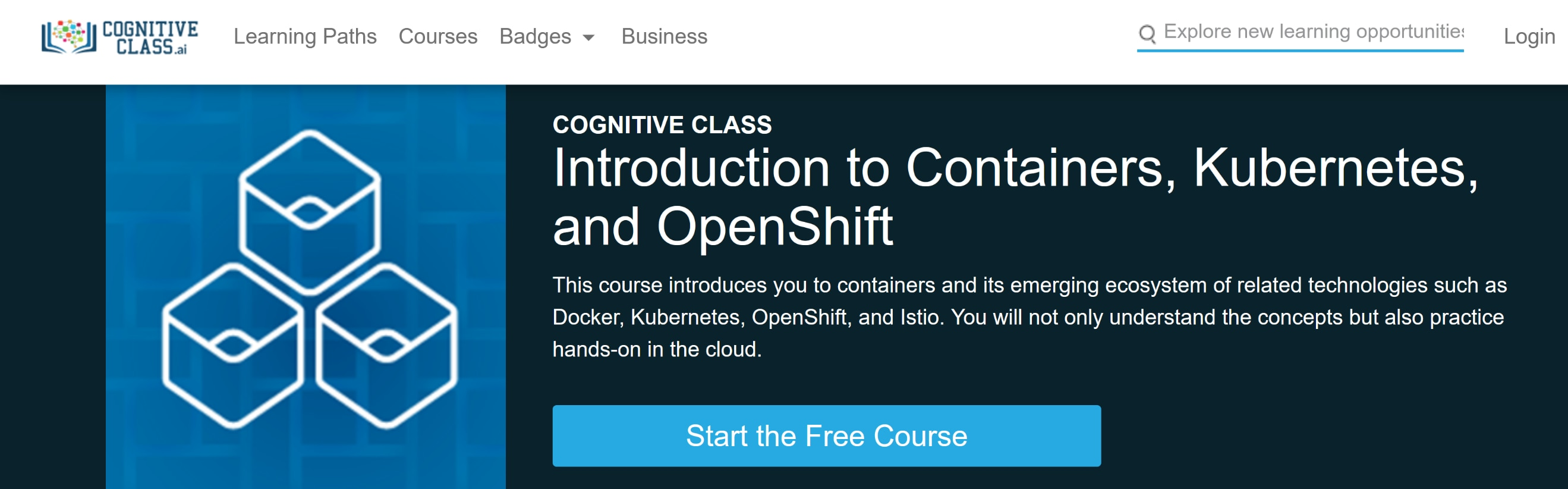 Screen shot of the Introduction to Containers, Kubernetes and OpenShift course enrollment page on CognitiveClass.ai