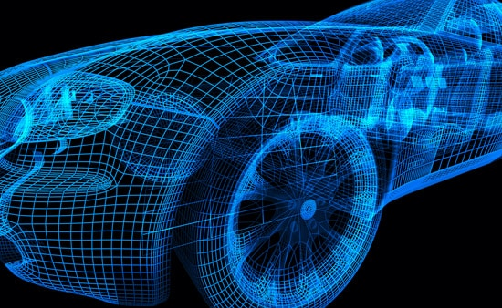 Blue wireframe model of a car