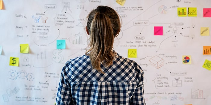 Woman facing a whiteboard of diagrams and sticky notes
