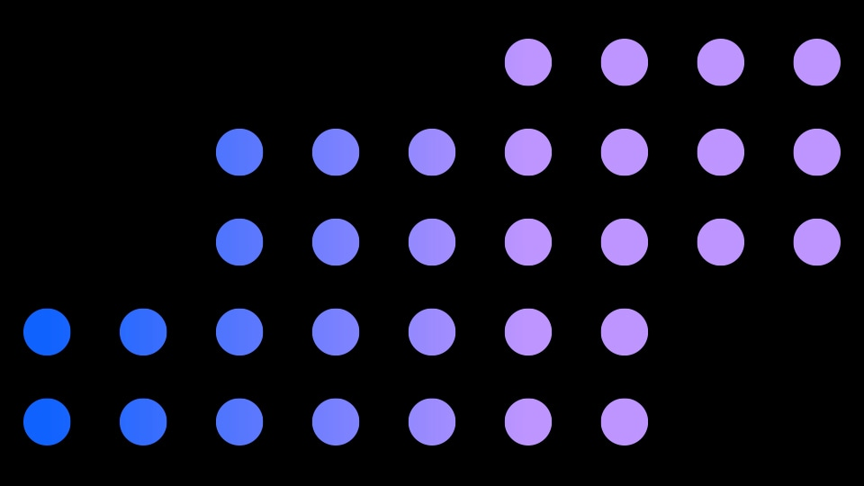 Blue and purple dots arranged in grid