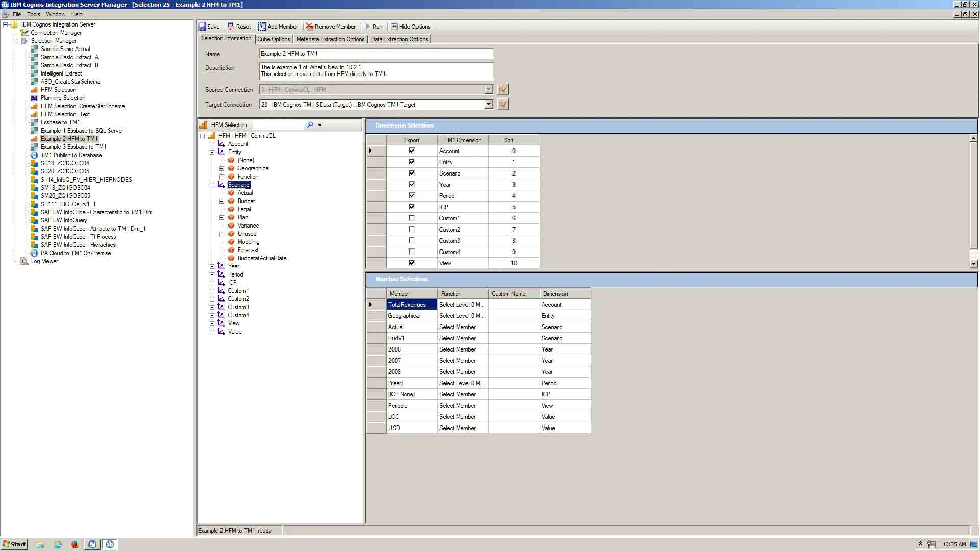 Screenshot showing IBM Cognos Integration Server dashboard
