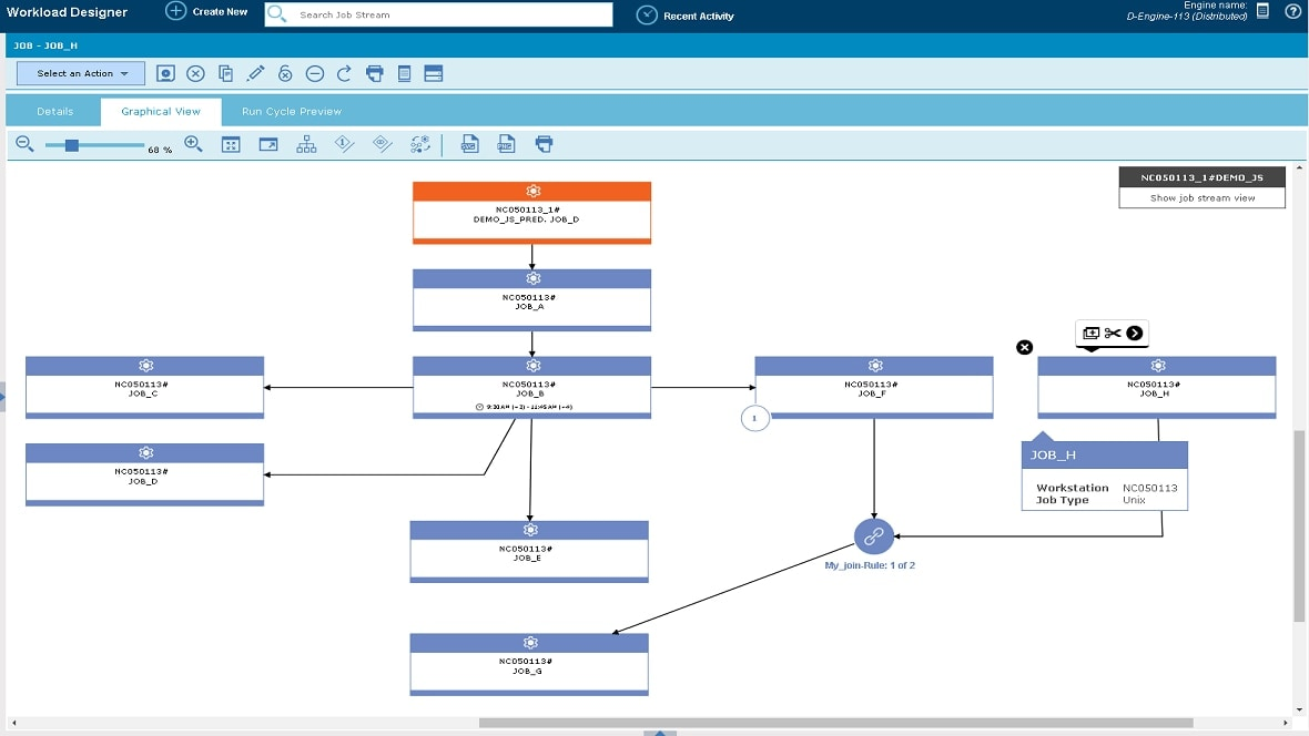 screenshot showing IBM Workload Automation product