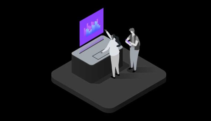 isometric data illustration with two characters on a computer