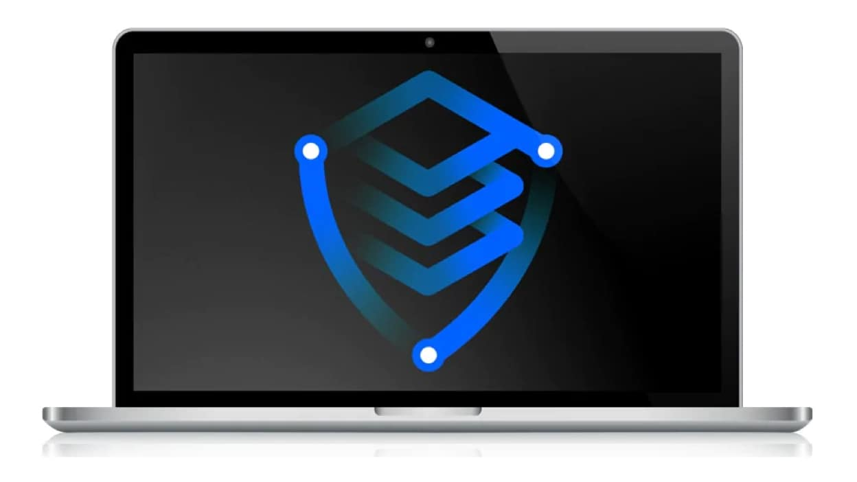 Laptop with a shield pictogram on the laptop screen representing Hyper Protect Virtual Servers