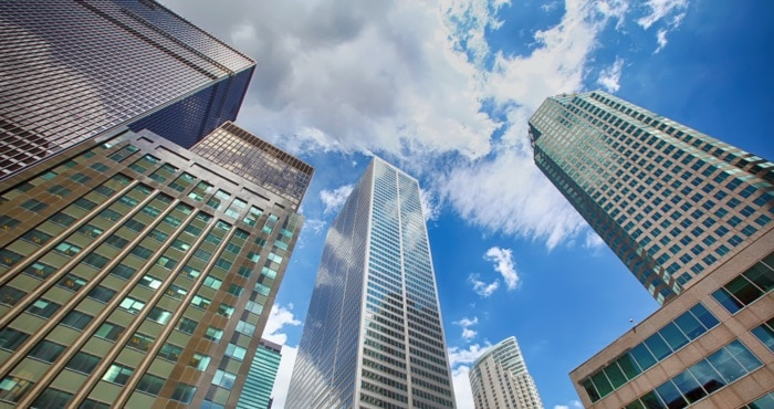street view of skyscrapers