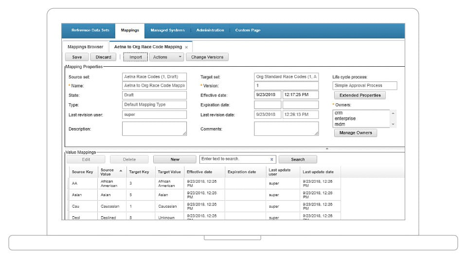 screenshot of InfoSphere MDM reference data management hub