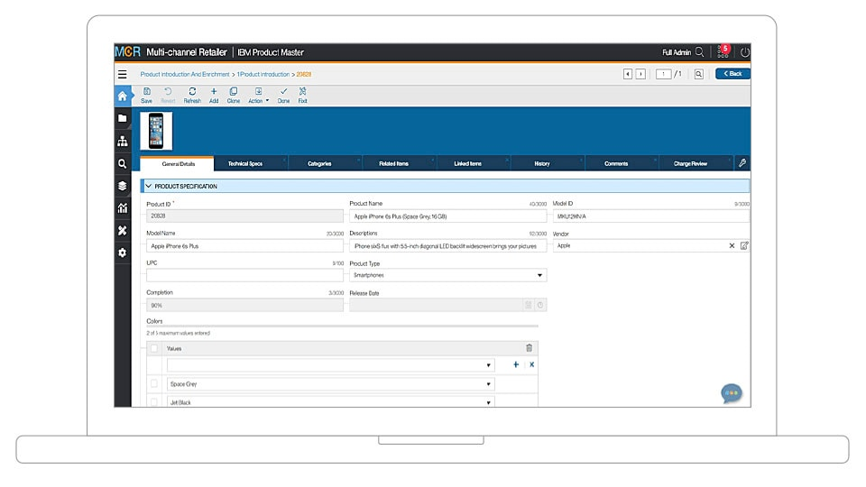 Screenshot of Product Master Product Specification window