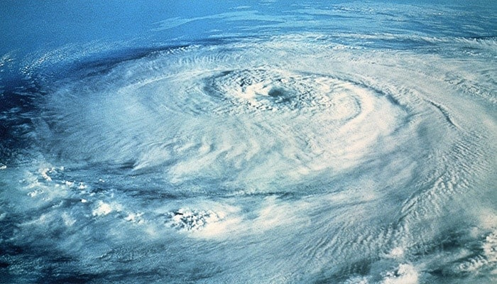 Satellite view of a hurricane