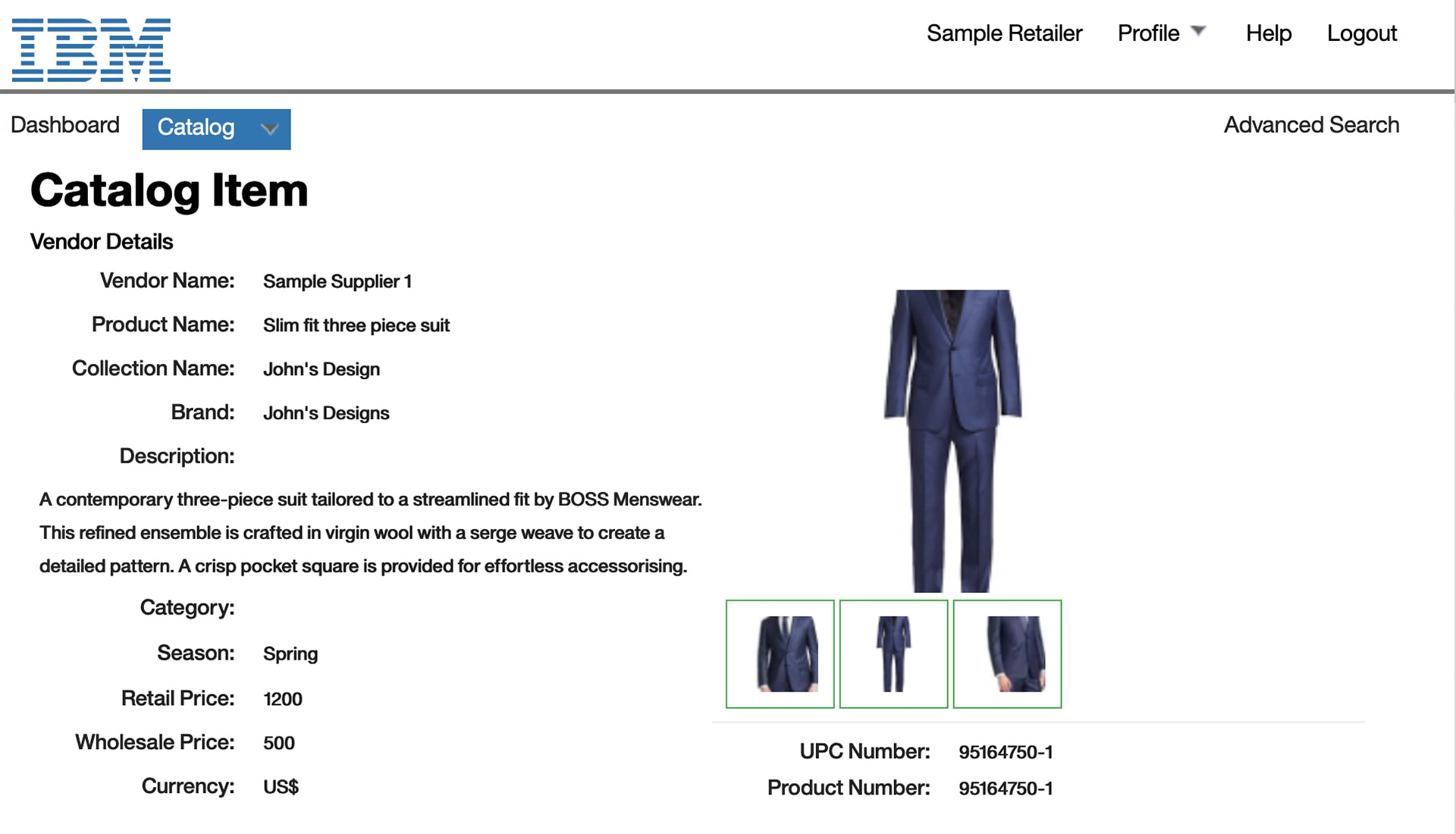 Screen capture showing a product profiled in IBM Sterling Catalog Manager.